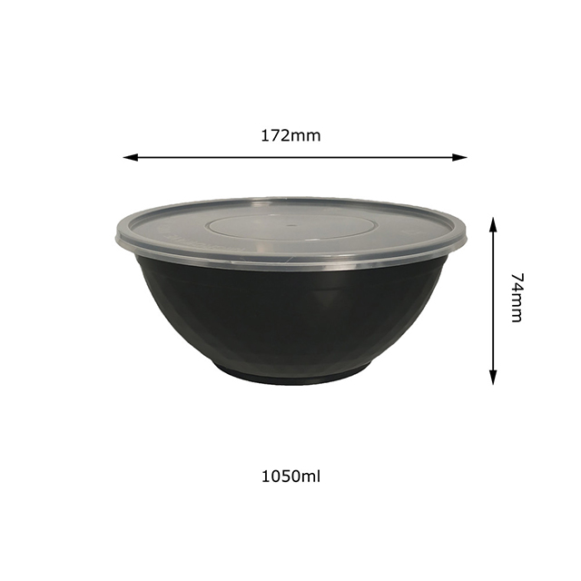 1050ml/38oz Round Disposable Food Packaging Rice Bowl/hot Soup Bowls/microwavable Bowl with Lid