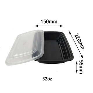 32oz Microwave Disposable Plastic Food Takeaway Container Food Storage Box