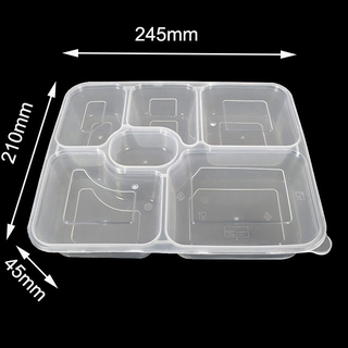 1000ml Disposable Divided Plastic Food Container 6 Compartment Lunch Box with Lid