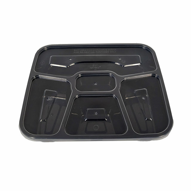 1000ml Disposable Divided Plastic Food Container Lunch Box 5 Compartments Food Container