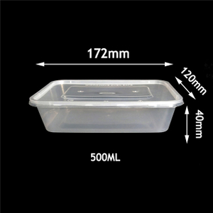 500ml Food Container Rectangular One Time Plastic Take-away Lunch Box